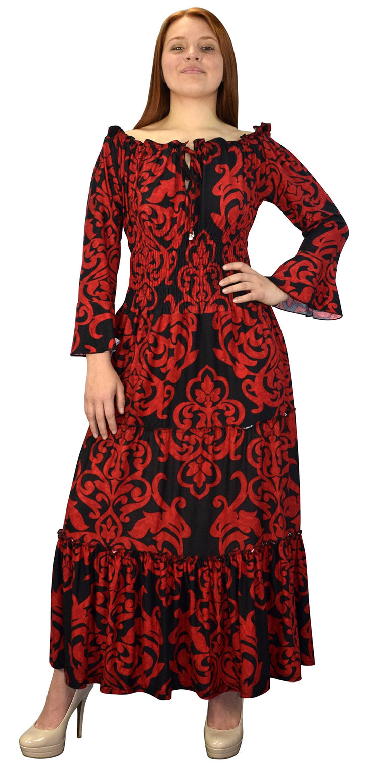 B5770-002-4-GypsyDress-Red/Blk