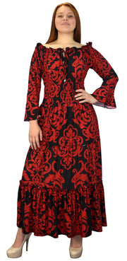 B5771-002-4-GypsyDress-Red/Blk-M-AJ