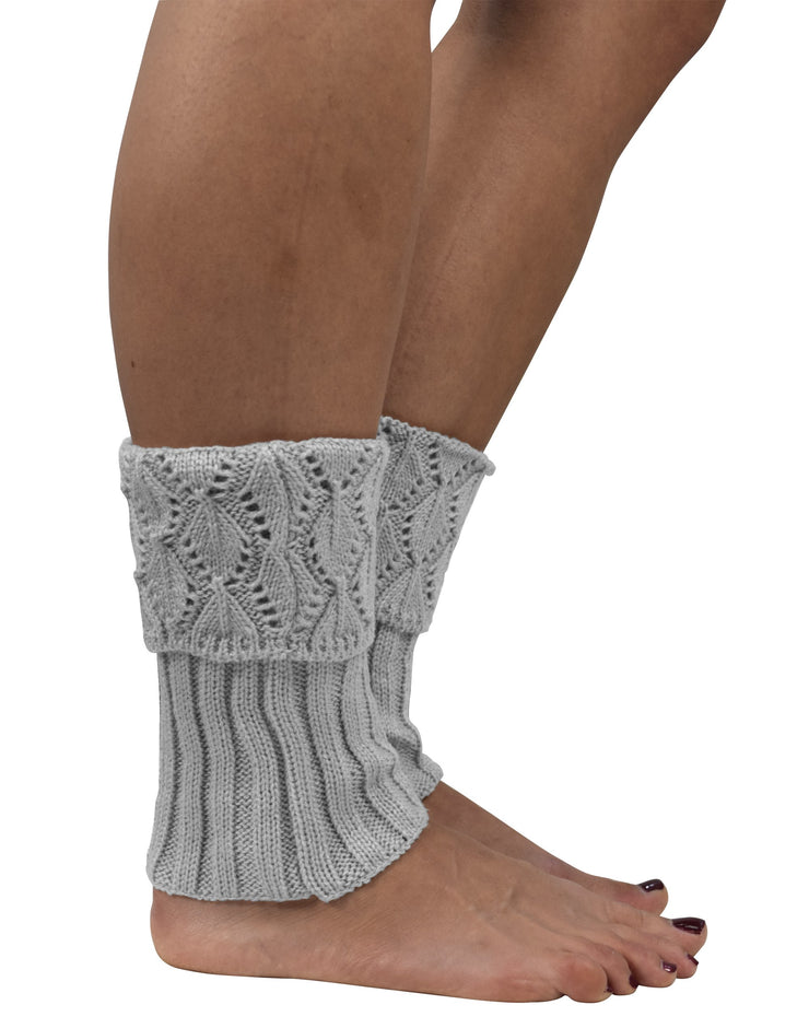 Womens Knitted Crochet Ribbed Cable Knit Short Leg Warmers