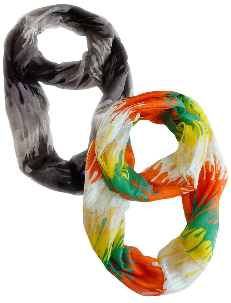 Black and Orange Peach Couture Trendy Abstract Multicolored Paint Design Infinity Loop Scarf/wrap