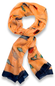 Peach Couture Cute Vintage Lightweight Graphic Finch Bird Print Scarf