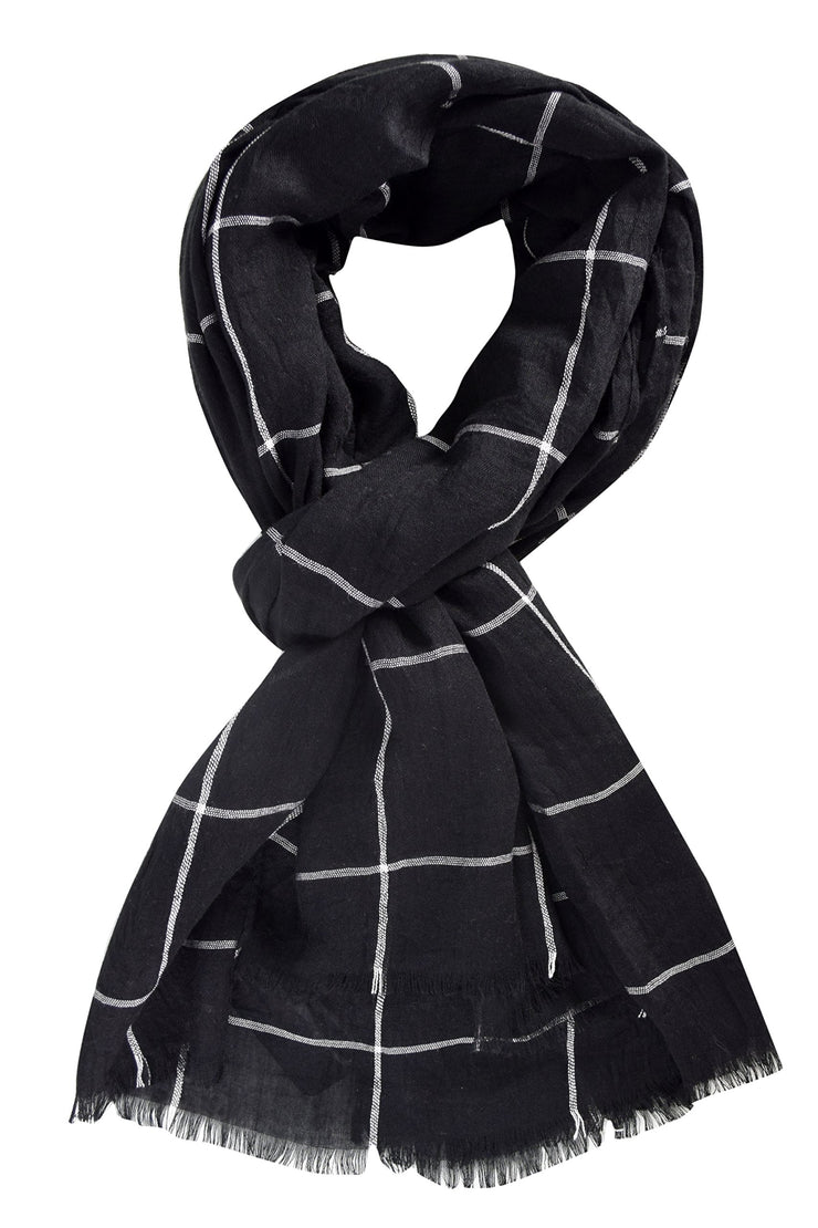 B0212-Plaid-Scarf-Black-AJ