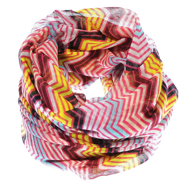 Fuchsia/Turquoise Peach Couture Modern Radiant Multicolored Chevron Geometric Infinity Loop Scarf