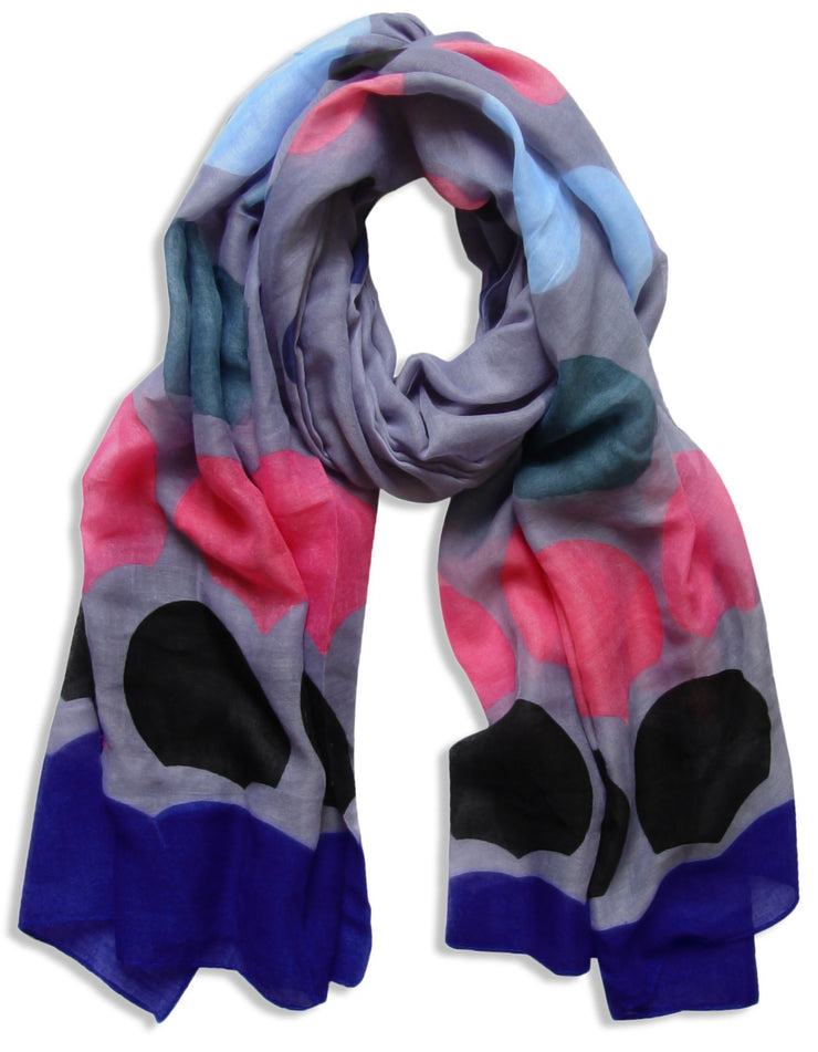 Indigo/Navy Peach Couture Playful Modern Multicolored Polka Dot Scarf wrap shawl