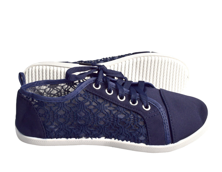 Women's Athletic Casual Ballet Sneakers Lace Up Canvas Denim Shoes