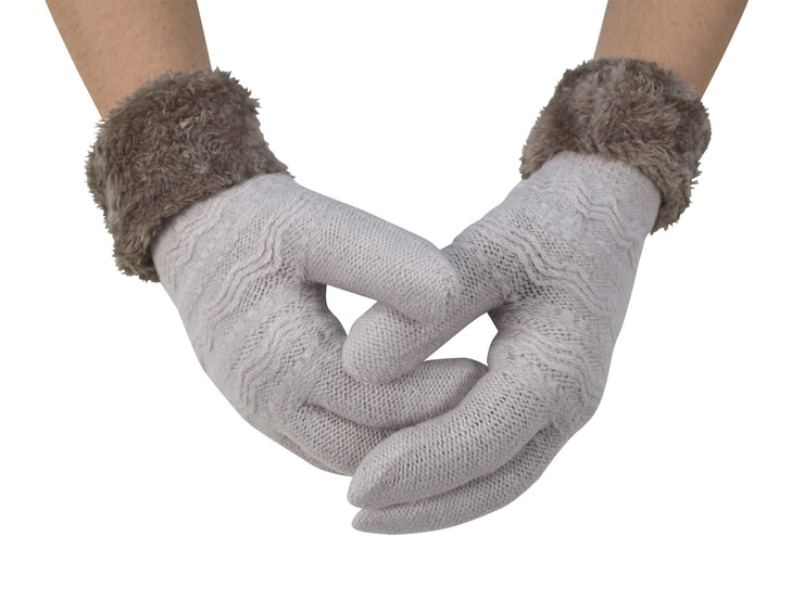 Classic Cable Knit Plush Fleece Lined Double Layer Winter Gloves