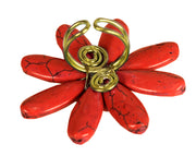 Gems Couture Jewelry Red Howlite Adjustable Flower Ring