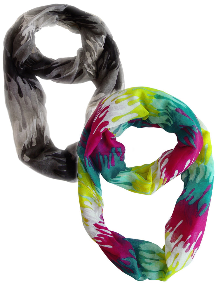 Black and Fuchsia Yellow Peach Couture Trendy Abstract Multicolored Paint Design Infinity Loop Scarf/wrap