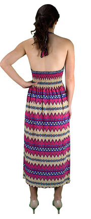 Peach Couture Bohemian Chevron Pattern V Neck Smocked Waist Halter Maxi Dress