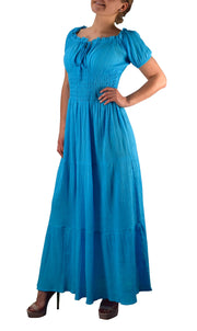 Gypsy Boho Cap Sleeves Smocked Waist Tiered Renaissance Maxi Dress (Medium, Turquoise)