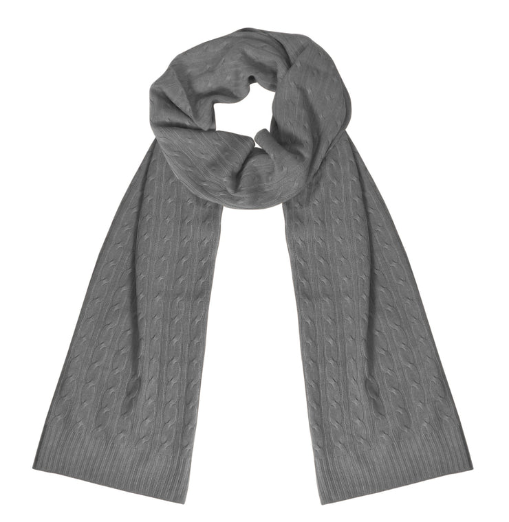 Wool Cashmere Lightweight Cable Knit Exclusive All Season Long Scarf