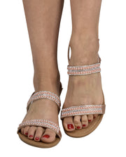 Womens Dainty Pearl Studded Gladiator Sandals