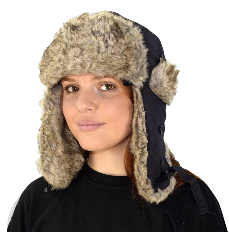 Faux Fur Lined Trooper Warm Russian Fur Ear flap Winter Skiing Hat Cap Windproof Winter Ushanka Aviator Hat