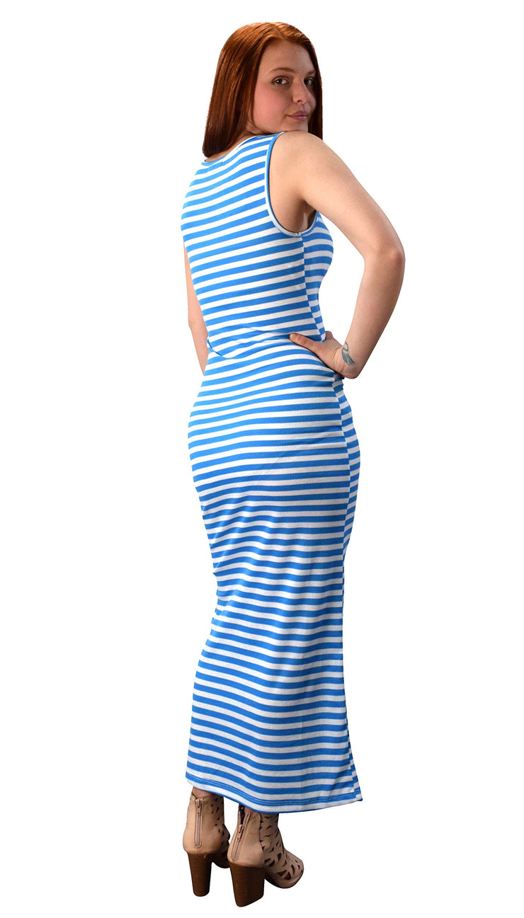 Womens Summer Fashion Sleeveless Side Slit Striped Maxi Dress