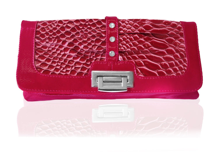 Peach Couture SCARLETTE Alligator Print Clutch with Rhinestones and Chain Strap