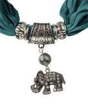 Womens Elegant Elephant Luxury Rhinestone Pendant Necklace Scarf