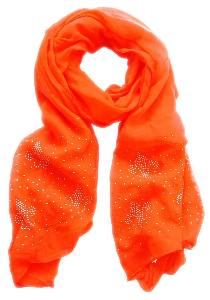Orange Peach Couture Classic Glittering Sparkle Studded Scarf Shawl Wrap