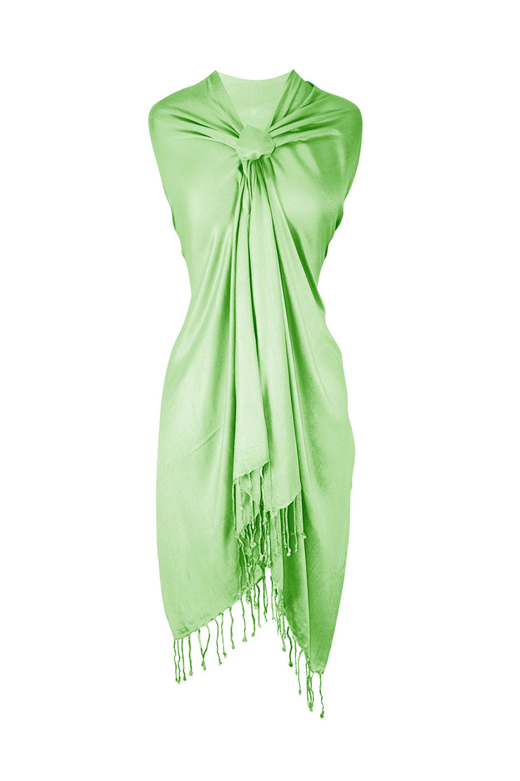 Soft Silky Rayon Pashmina Shawl Wrap Scarf in Solid Color