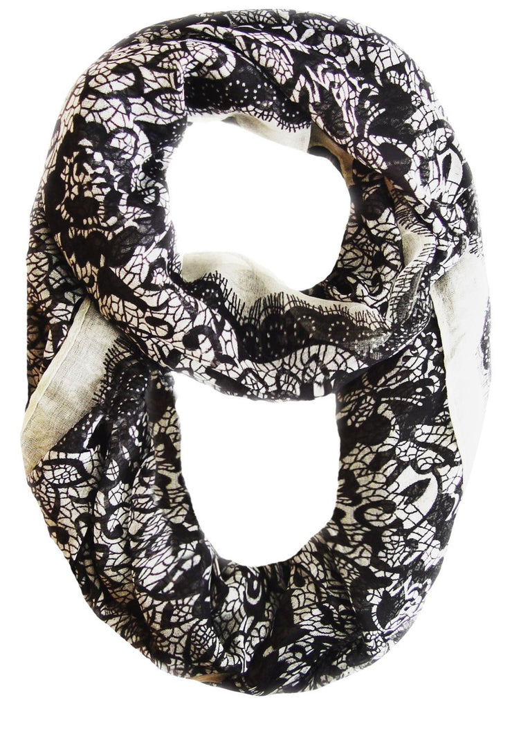 Black/White Beautiful Tropical Hawaiian Hibiscus Flower & Lace Design Infinity Loop Scarf