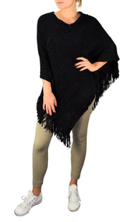 Peach Couture Retro Style Thick Knit Cozy Winter Poncho Sweater with Fringes