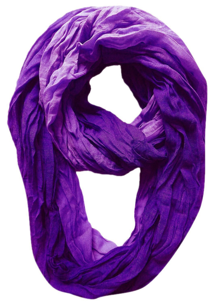 Ombre Purple Peach Couture Fashion Lightweight Crinkled Infinity Loop Scarf Neon Faded Ombre