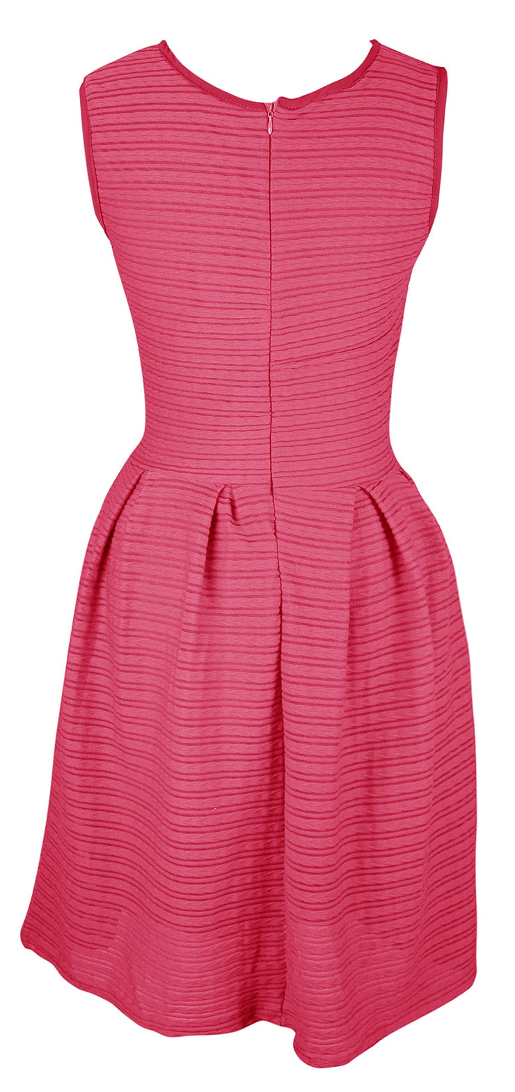Womens Solid Color Chic Sleeveless Ribbed Skater Dress