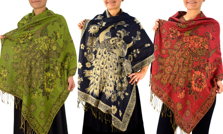 Floral Peacock Reversible Pashmina Wrap Shawl Scarf 3 Pack (Olive/Navy/Red)