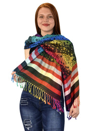 Peach Couture Rainbow Silky Tropical Colorful Exotic Pashmina Wrap Shawl Scarf