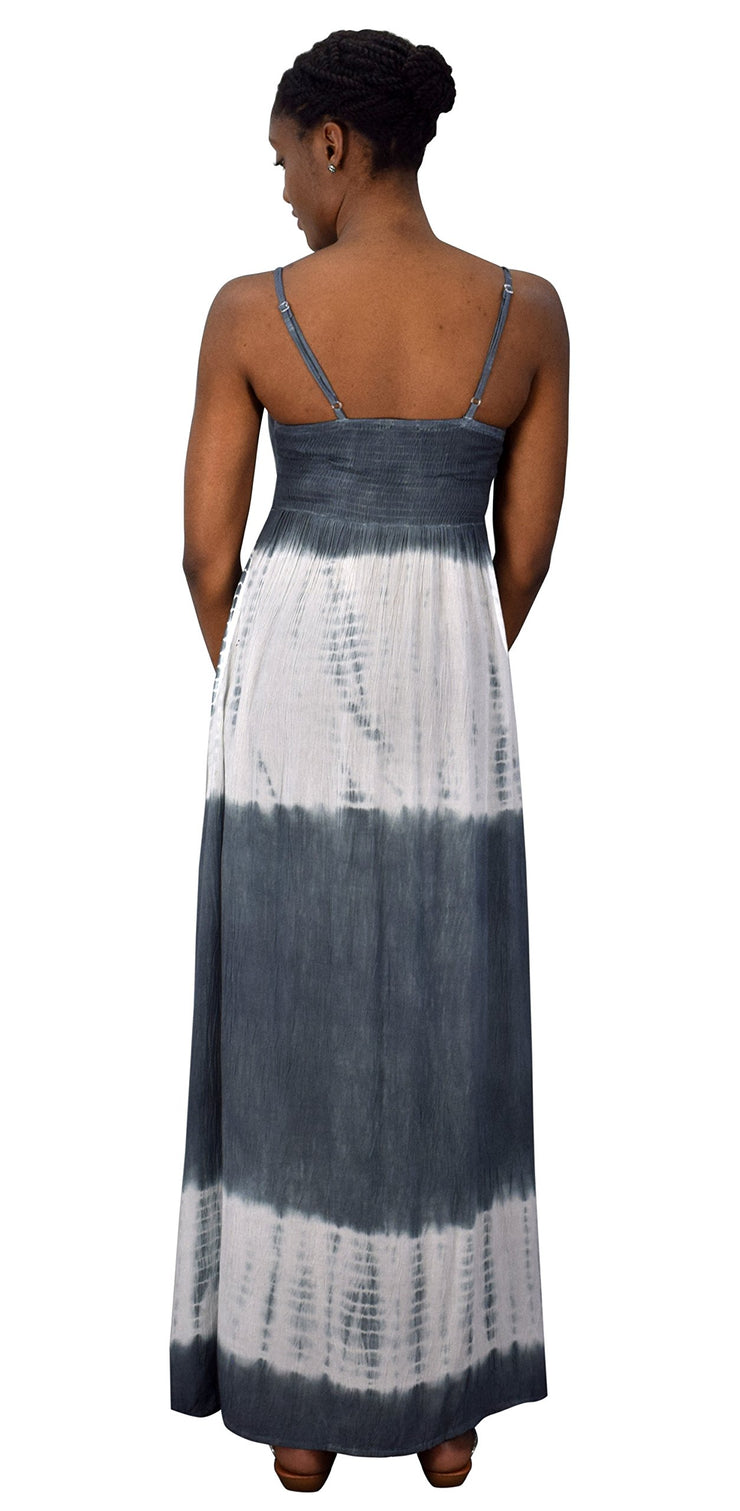 Summer Fashion Womens Spaghetti Strap Tie Dye Crepe Maxi Dresses