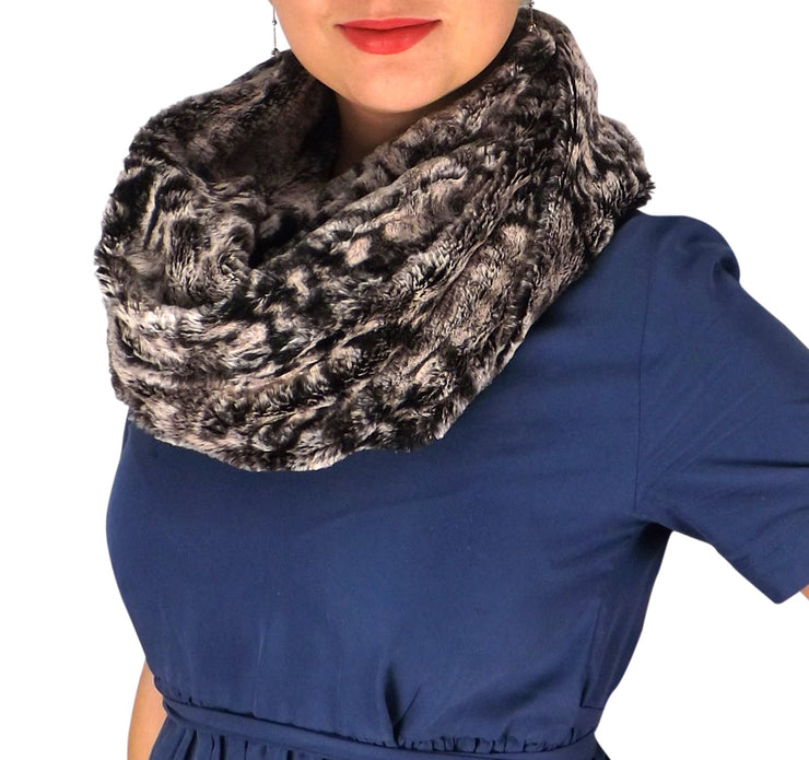 Faux fur Two Tone Plush Cowl Collar Infinity Loop Scarf