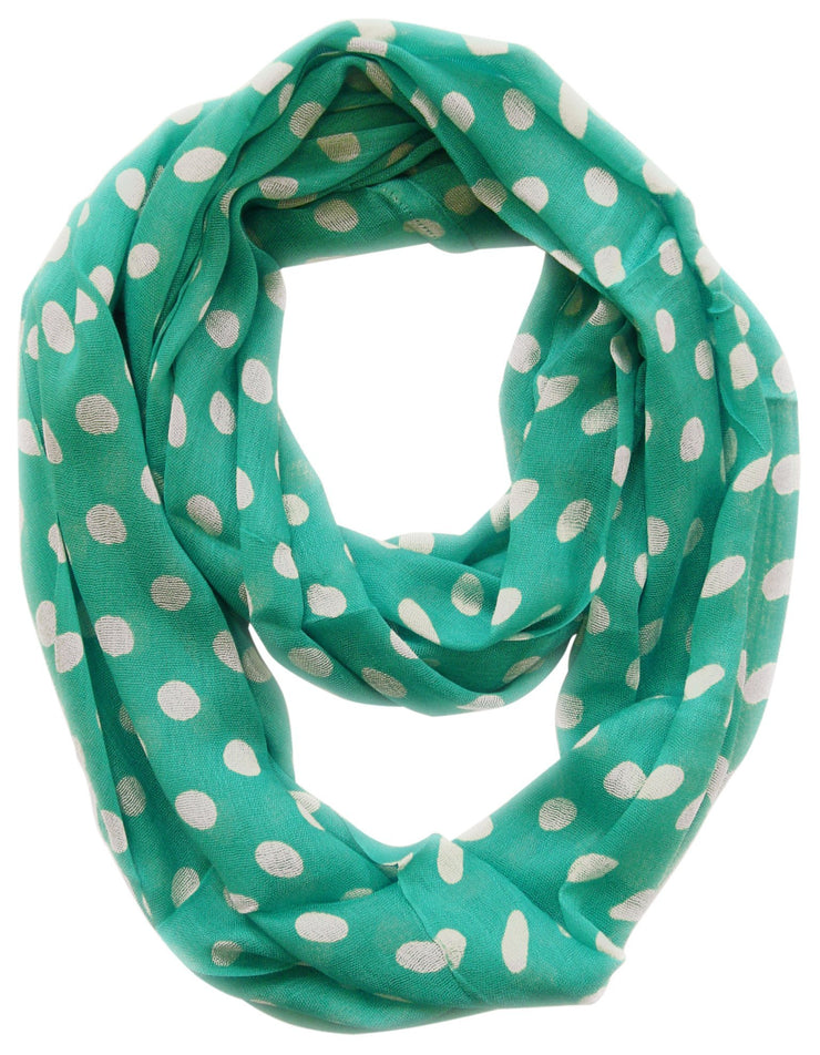 Teal and Ivory Peach Couture Light and Sheer Polka Dot Circle Print Infinity Loop Scarf