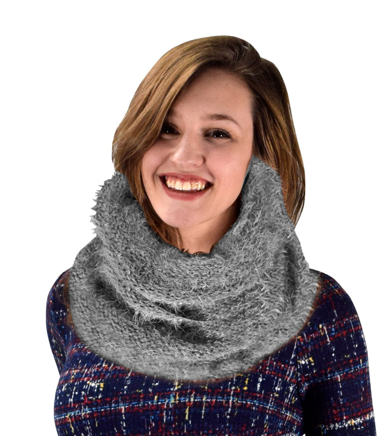 Navy Double Layer Marled Knit Cowl Neck Infinity Loop Scarf Neck Warmer