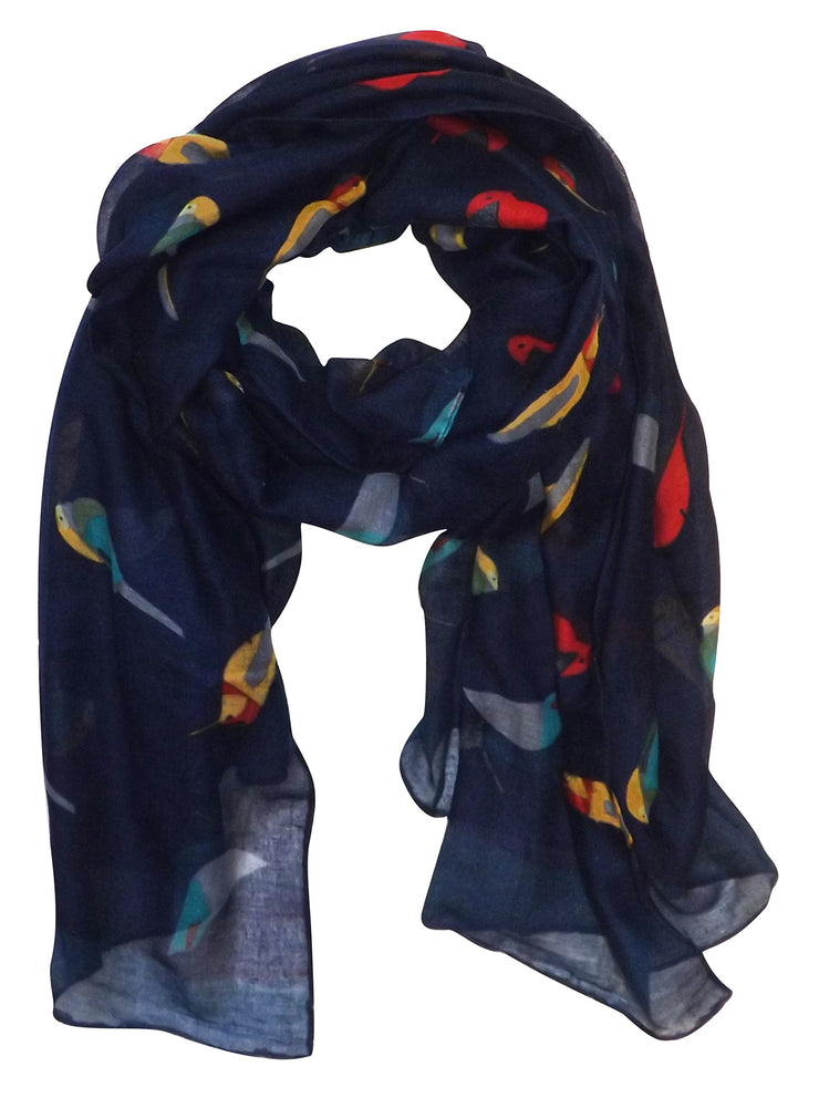 Pretty Vintage Finch Bird All-Over Print Light Sheer Scarf