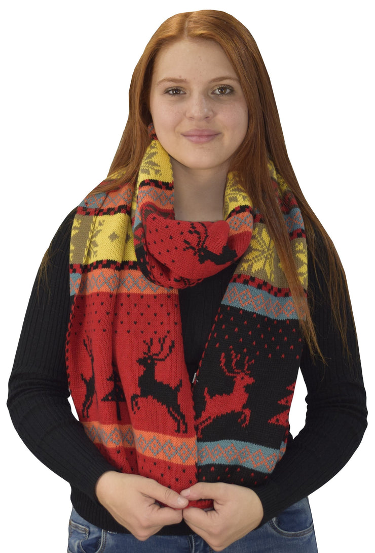 Holiday Fair Isle Print Wrap Around Christmas Blanket Scarf Scarves Shawl