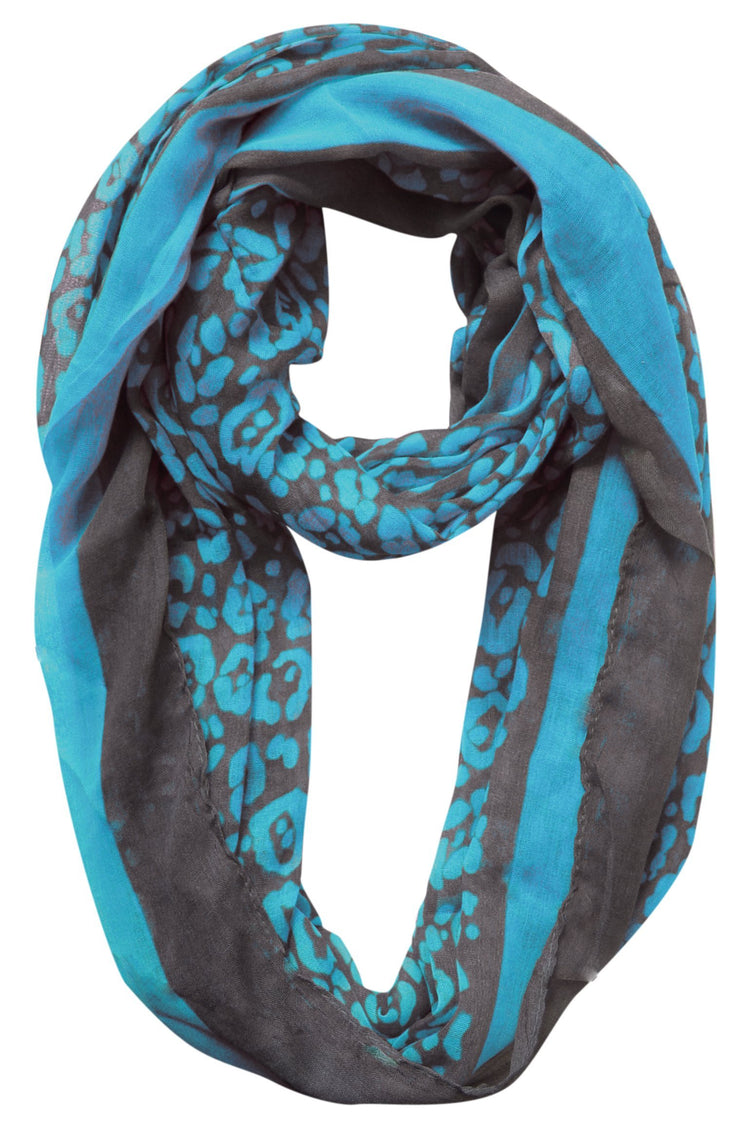 Turquoise Peach Couture Retro Neon Animal Print Infinity Loop Scarf