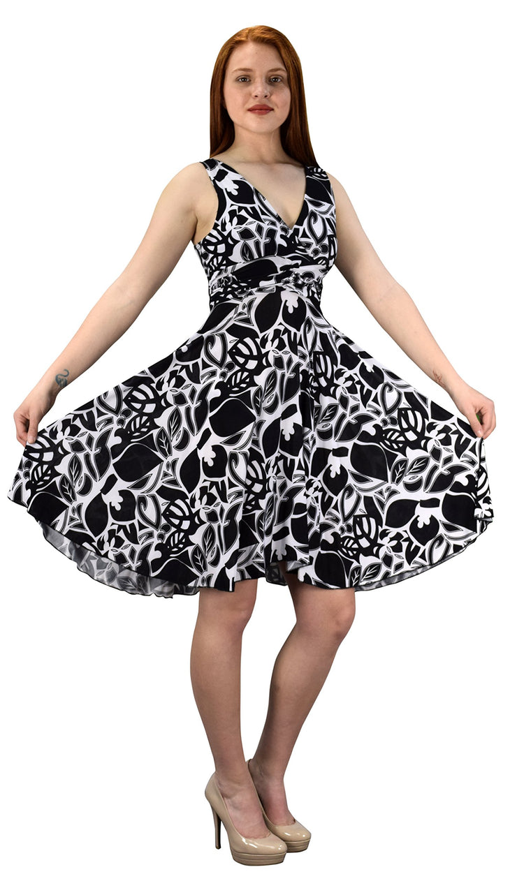 Womens Sleeveless Surplice Top Self Tie Floral Skater Dress