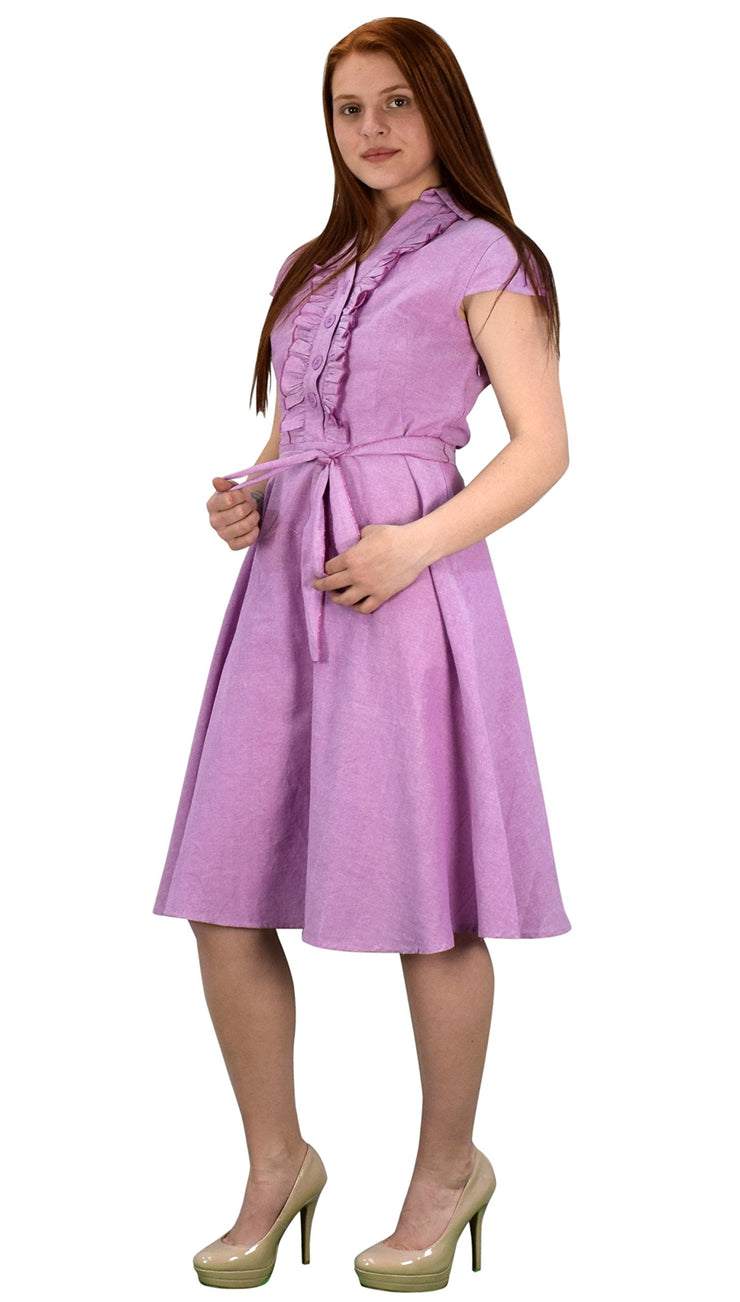 100% Cotton Ruffle Neck Self Tie Cap Sleeve Knee Length Sundress Pink Small
