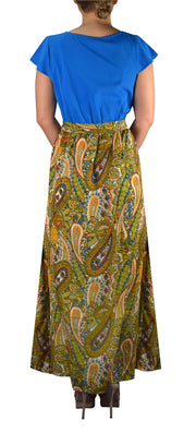 Paisley Boho Cap Sleeves Summer Maxi Evening Beach Cocktail Dress