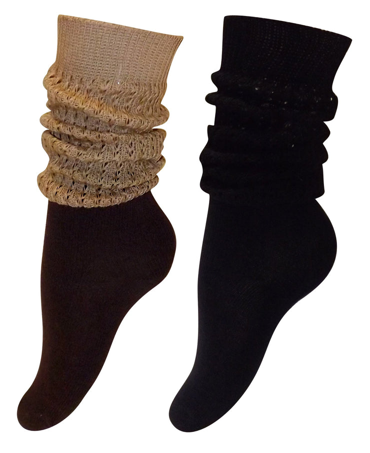 Living Socks New Womens Warm & Trendy 2 Pack Slouched Boot Socks - Size 9-11