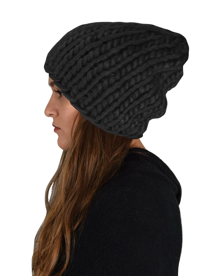Thick Warm Soft Cable Knit Hat Beanie Slouchy Double Braid Stitch