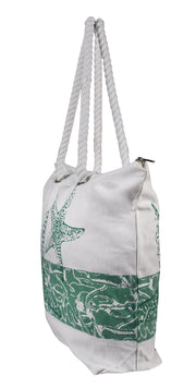 100% Cotton Canvas Beach Handbags Nautical Starfish Design