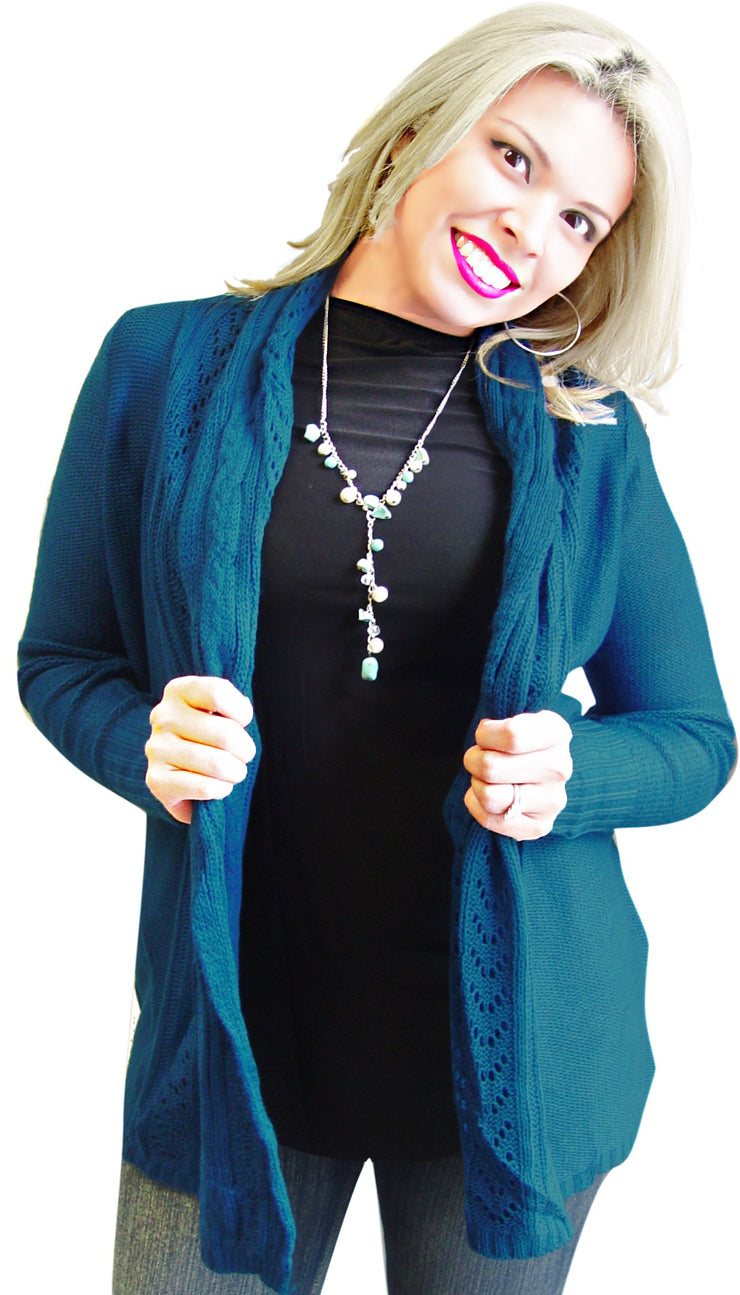 Vintage Knit Draped Cardigan (XL, Teal)