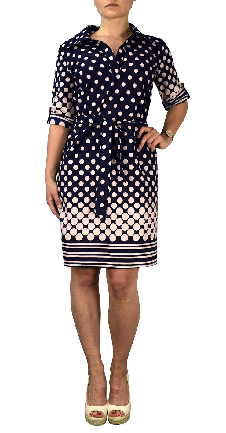 Womens Summer Causal V Neck Shift ¾ Sleeve Waist Tie Shift Dress