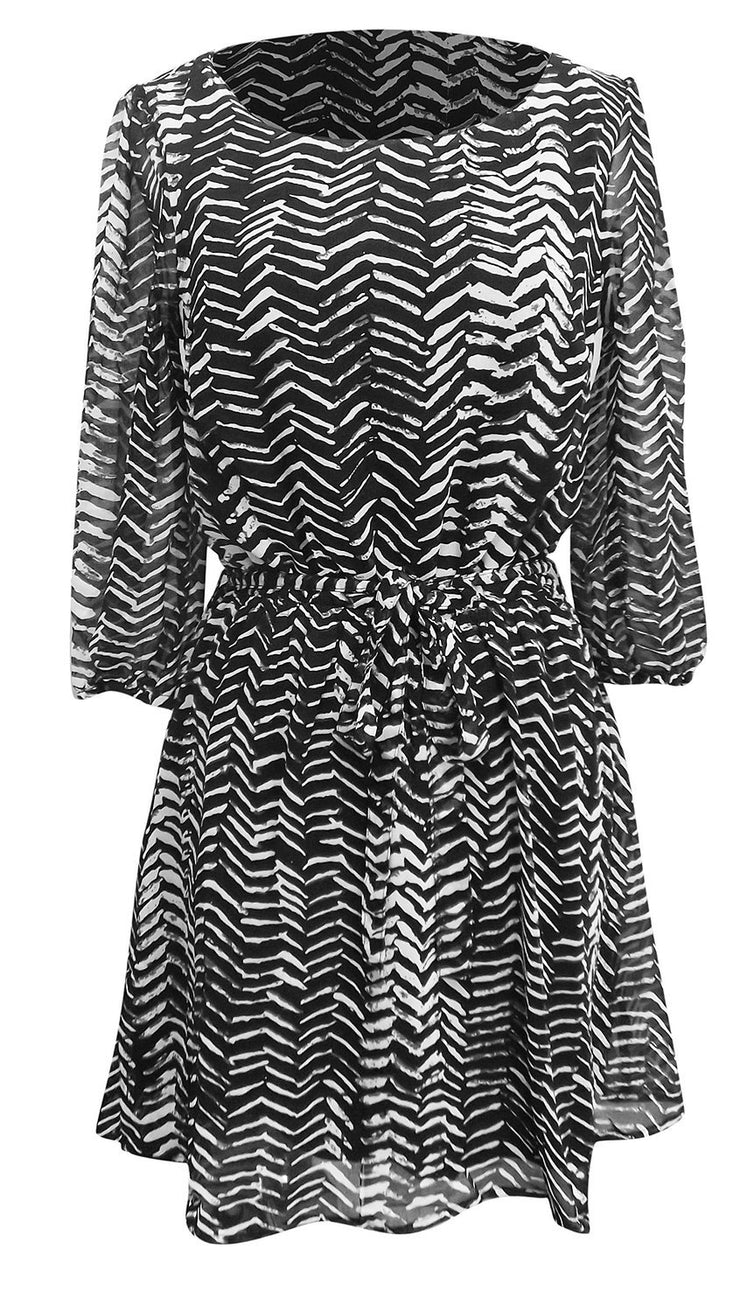 Peach Couture Womens Shift Mid-Length Dress Chevron Inky Edge Print Black