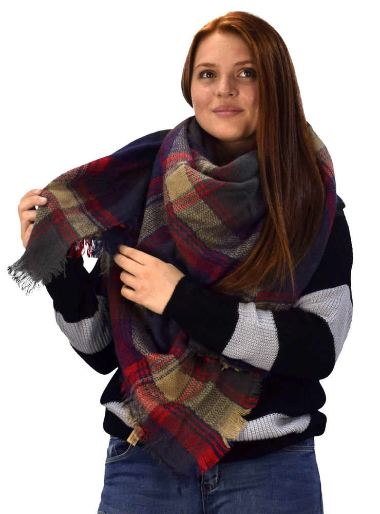 B0997-Plaid-Oversized-Scarf-NavybRed-AC