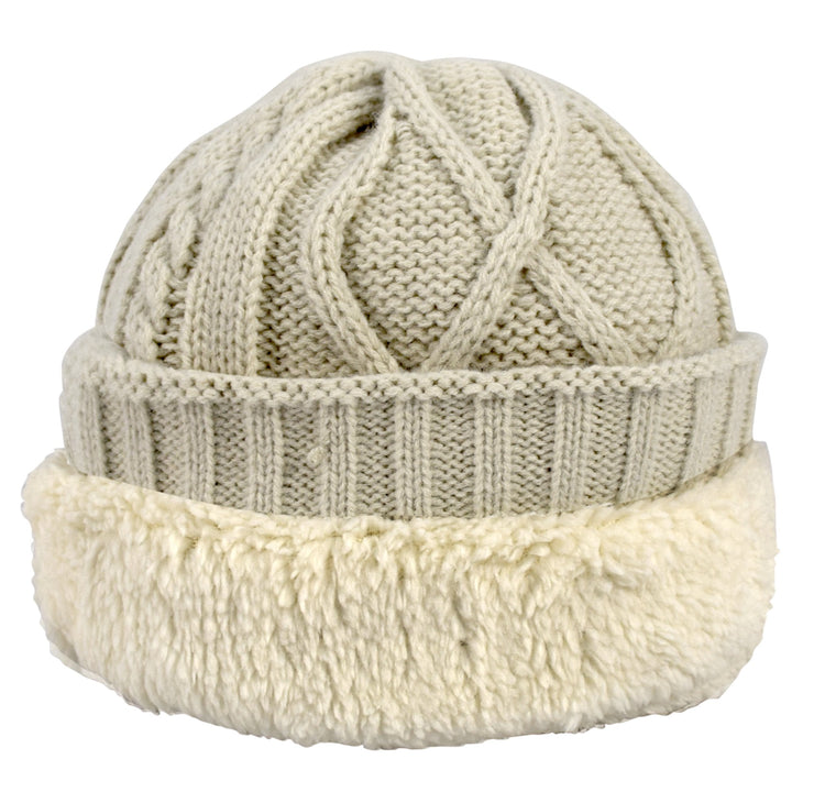Sherpa Fleece Lined Unisex Diamond Knit Winter Beanie Hat Cap
