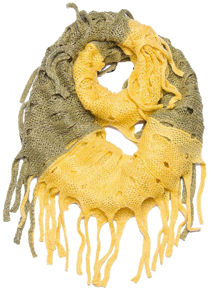 Yellow Mix Peach Couture Warm Bohemian Crochet Hand Knitted Fringe Infinity Loop Scarf Wrap