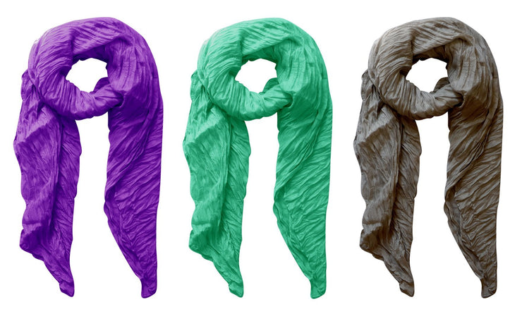 Purple, Aqua, Grey Peach Couture Solid Colorful Soft Crinkled Lightweight Versatile Wrap Scarf