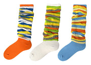 Womens Teens Slouchy Colorful Striped Slouch Vintage Socks 3 Pack