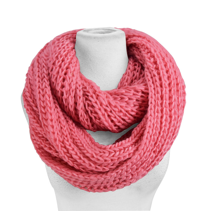 Peach Couture Hand Made Thick Chunky Knit Infinity loop Scarves in Warm Colors